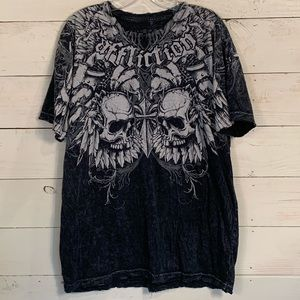 Affliction Mens Skull And Cross Graphic T Shirt XL